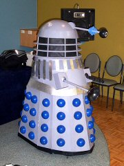 A Dalek doing stand-up comedy
