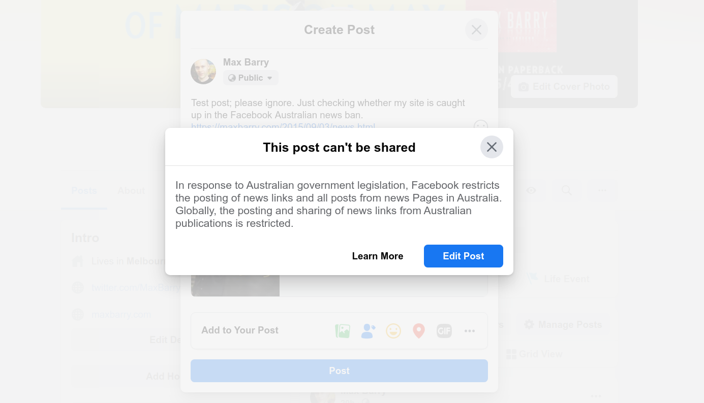 Error saying This post can't be shared: In response to Australian government legislation, Facebook restricts the posting of news links and all posts from news Pages in Australia. Globally, the posting and sharing of news links from Australian publications is restricted.