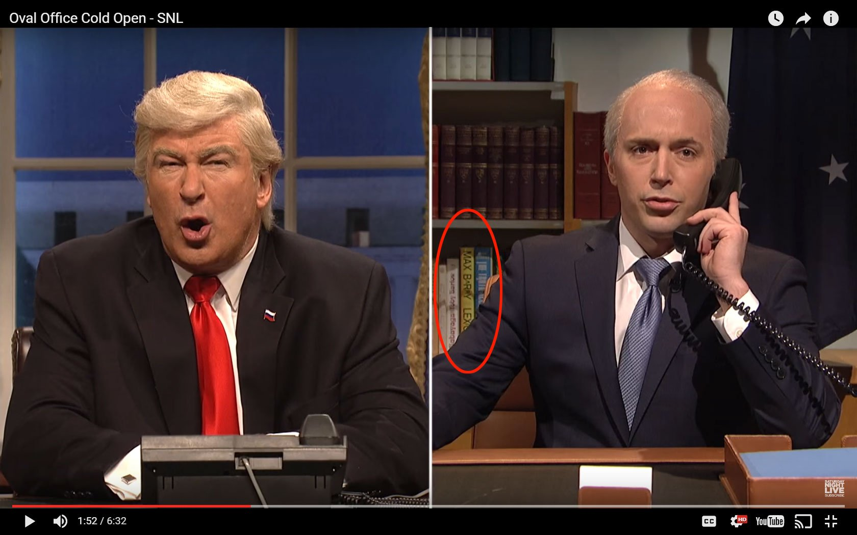 Saturday Night Live sketch of Trump vs Turnbull phone call with Lexicon by Max Barry visible on shelves behind the Australian Prime Minister