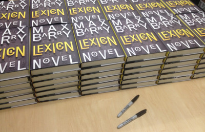 Like, fifty copies of Lexicon, and pens to sign them with