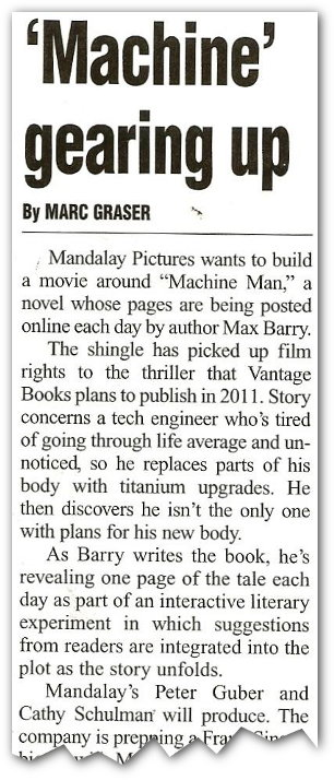 Variety news article: 'Machine gearing up'